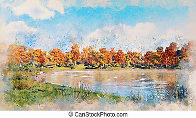Autumn scenery with forest lake watercolor sketch