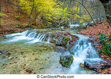 Autumn scenic landscape, mountain river in the autumn forest in the mountains