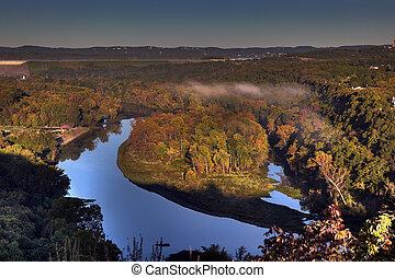 Autumn Scenic Overlook in Branson Missouri at Sunrise -...