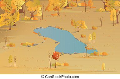 Autumn scenic top view of the park with yellow trees and lake. Autumn colors, landscape