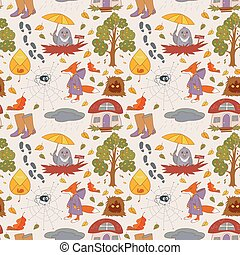 Autumn seamless background with cute design.