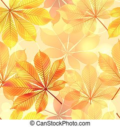 Autumn seamless background with leaves. Vector illustration