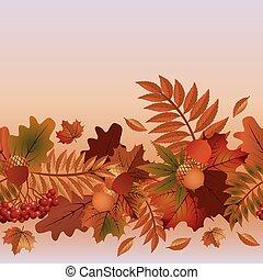 Autumn seamless banner, vector illustration