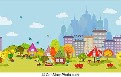 autumn seamless cityscape for your design