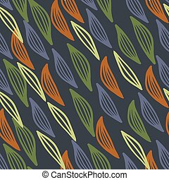 Autumn seamless floral pattern with outline leaves in orange, yellow and blue colors.