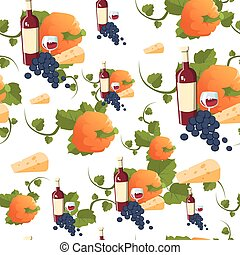Autumn Seamless Pattern Happy Thanksgiving Day Concept...