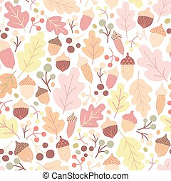 Autumn seamless pattern with fallen oak leaves, acorns, berries on white background. Seasonal backdrop. Colorful vector illustration in flat style for wrapping paper, textile print, wallpaper.