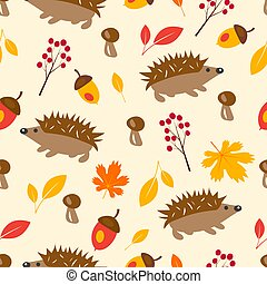 Autumn seamless pattern with hedgehog, leaves