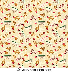 Autumn seamless pattern with leaves and berries.