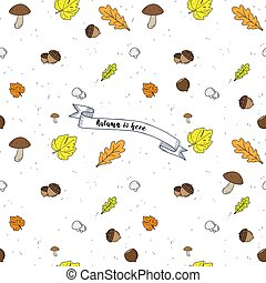 Autumn Seamless vector Backgroundwith leaves and text