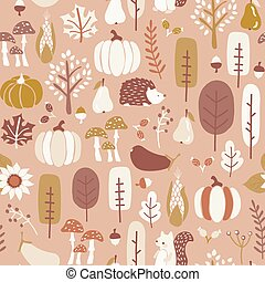 Autumn seamless vector pattern in subtle fall colors. Repeating brown gold white background hedgehog, squirrel corn tree pumpkin pear sunflower acorn. Harvest festival. For fabric, Thanksgiving decor