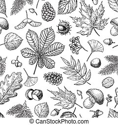 Autumn seamless vector pattern with leaves, berries, fir...