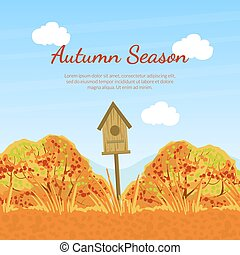 Autumn Season Banner Template with Fall Trees, Birdhouse and Space for Text, Seasonal Promotional Leaflet, Flyer, Invitation Card, Proposition from Store Vector Illustration