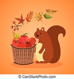 autumn season basket with apples and chipmunk