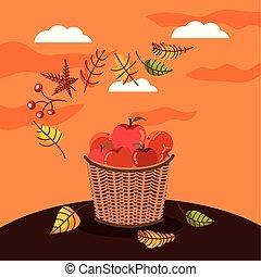 autumn season basket with apples icons