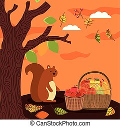 autumn season basket with fruits and chipmunk