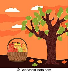 autumn season basket with fruits icons