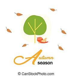Autumn Season Birds And Tree Background Vector Image