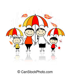 Autumn season. Family with umbrellas for your design
