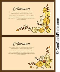 Autumn Season Greeting Card Decorated by Bouquet