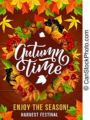 Autumn season harvest festival invitation poster