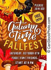 Autumn season holiday festival invitation banner