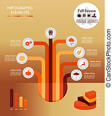 Autumn season infographic illustration template. Concept tree with information graphics elements about weather and seasons related issues. EPS10 Vector file in layers for easy editing.