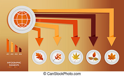 Autumn season infographic illustration template. Global concept arrows with information graphics elements about weather and seasons related issues. EPS10 Vector file in layers for easy editing.