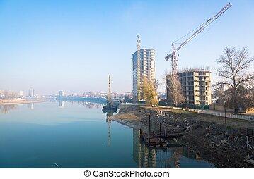 Autumn season on river Kuban, Krasnodar city