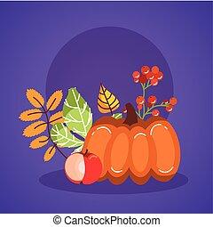 autumn season pumpkin and leafs icons