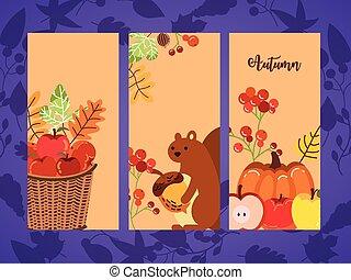 autumn season set cards icons