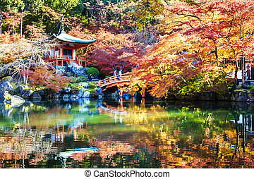 Autumn season, The leave change color of red in Tample japan.