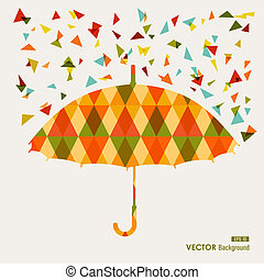 Autumn season transparent geometric triangles umbrella shape background. EPS10 file with transparency for easy editing.