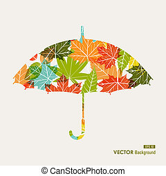 Autumn season transparent leaves umbrella shape background. EPS10 file with transparency for easy editing.