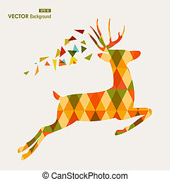 Autumn season transparent triangles reindeer shape background. EPS10 file with transparency for easy editing.