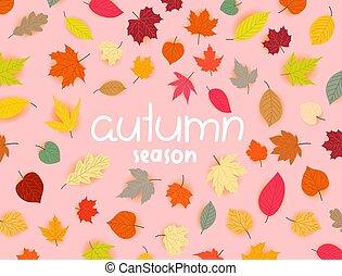 Autumn season vector banner with leaves