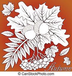 Autumn seasonal background, vector illustration