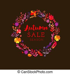Autumn seasonal poster with autumn leaves. Vector watercolor colorful circular floral wreath with autumn flowers and central white copy space for your text. Vector handdrawn wedding wreath with flowers.