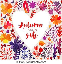 Autumn seasonal poster with autumn leaves. Vector watercolor heart frame background with flowers. perfect for Valentines Day greeting cards. Hand-drawn watercolor romantic heart. Floral banner.