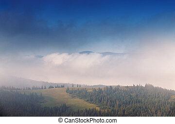 Autumn September foggy morning in mountains
