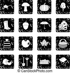 Autumn set icons, grunge style