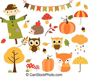 Autumn set with animals