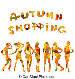 Autumn shopping advertising with falling leaves patterned...
