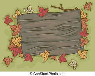 Illustration of a Blank Signboard Surrounded by Autumn Leaves