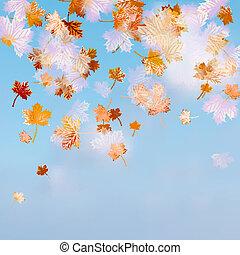 Autumn sky leaf. EPS 10