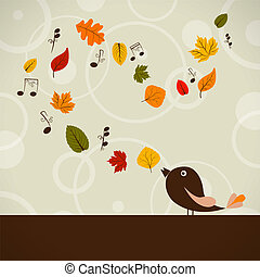 Vector picture with cute singing bird and autumn leaves