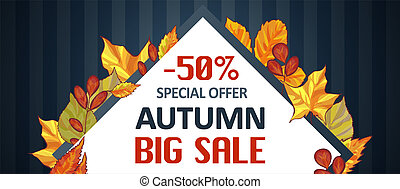 Autumn special offer sale banner horizontal, cartoon style