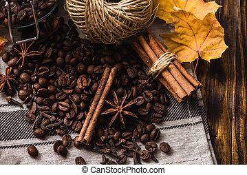 Autumn spices with coffee beans