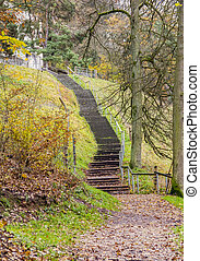 autumn stairway scenery - historic stairway around the...