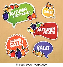 Autumn stickers set with fruits and vegetables.